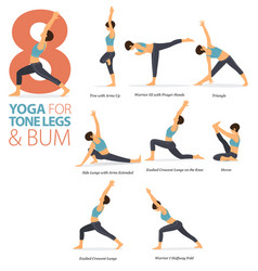 8 yoga poses for tone legs and bum concept vector