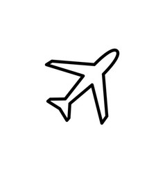 airplane line icon in flat style for app ui vector image