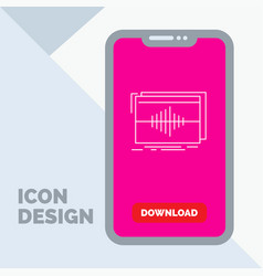 Audio frequency hertz sequence wave line icon in vector