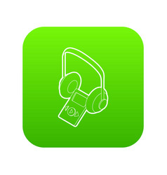 audio guide icon green vector image