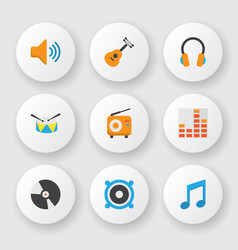 audio icons flat style set with guitar percussion vector image