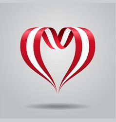 Austrian flag heart-shaped ribbon vector