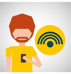Avatar smartphone wifi social media vector