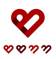b letter red heart logo template vector image