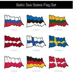 baltic sea states waving flag set vector image