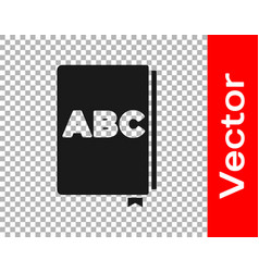 Black abc book icon isolated on transparent vector