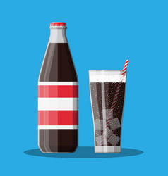 bottle and glass with cola and striped straw vector image