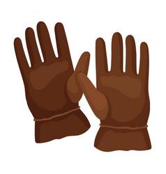 Brown gloves for men on a vector