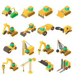 building vehicles icons set isometric style vector image