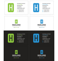 Business card with the letter h rectangle vector