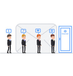 Business people stand in line to enter the door vector