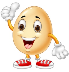 Cartoon egg giving thumb up vector