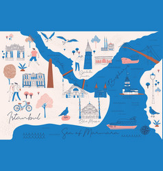 cartoon map istanbul with legend icons vector image