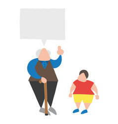 Cartoon old man with walking stick talking to his vector