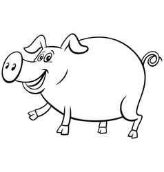 Cartoon pig farm animal character coloring book vector