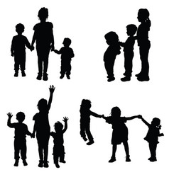 children holding hands silhouette vector image