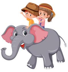 children riding elephant on white background vector image