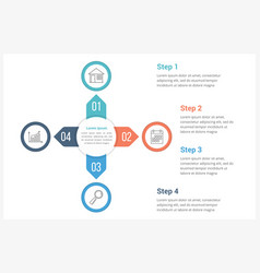 circle infographics template with four elements vector image