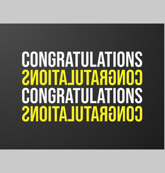 congratulations typography black background for vector image