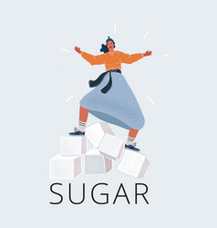 Cube sugar icon woman vector