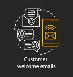 Customer welcome emails chalk concept icon vector