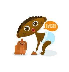 Cute african american baby boy playing with dog vector