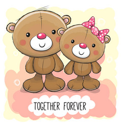 cute cartoon teddy bear boy and girl vector image