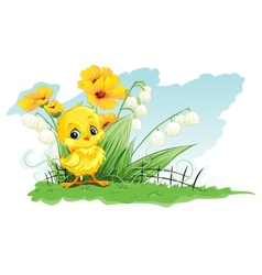 cute chicken on a background of yellow flowers and vector image