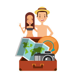 Cute couple tourists suitcase camera map and hat vector