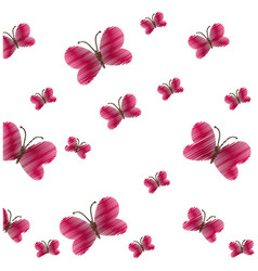 Cute red butterfly seamless pattern vector