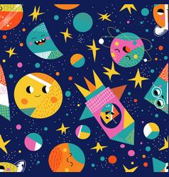 Cute space flat cartoon seamless pattern vector