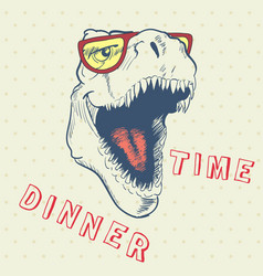 dinner time of cool dinosaur vector image vector image