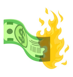 Dollar in fire icon isometric style vector