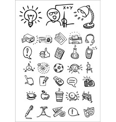doodle school and college icons vector image