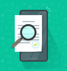 expertise document inspection via mobile phone vector image