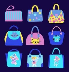 Fashion cute cartoon pattern bag collection vector