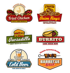 Fast food restaurant or bistro icons vector