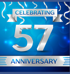 fifty seven years anniversary celebration design vector image