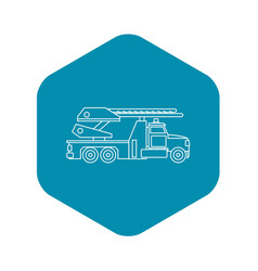 fire truck icon outline style vector image