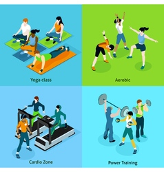 Fitness Aerobic Isometric Icons Set vector image