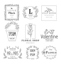 Floral frame set for wedding flower shop vector
