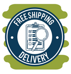 Free shipping with checklist and magnifying glass vector