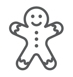 gingerbread man line icon christmas and sweet vector image