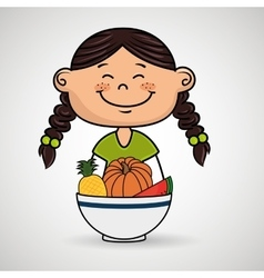 Girl plate fruit vegetables vector