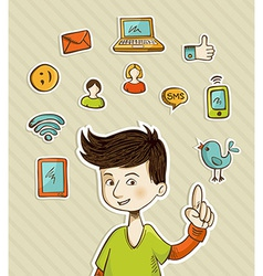 Go social teenager shows netwoks icons vector image