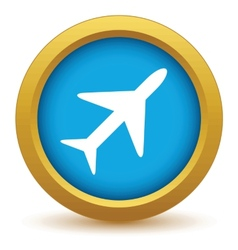 Gold plane icon vector image