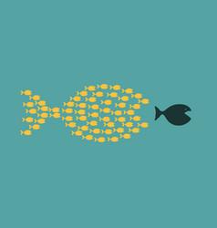 group small fishes hunting a big fish vector image