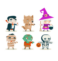 halloween children costume kids masquerade fantasy vector image