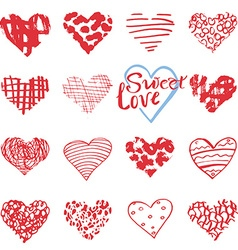 hand drawn hearts symbols and lettering vector image