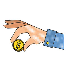 Hand with coin vector